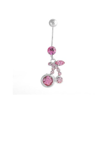 Glamorousky pink Cherry Belly Ring with Pink Austrian Element Crystals 39600ACBFF8E6FGS_1