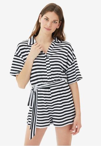 Trendyol black Stripe Playsuit 06973AAC74FFD2GS_1