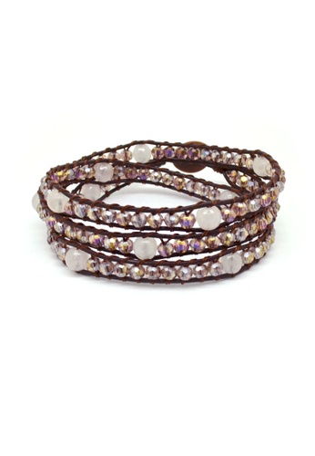 Fur Nyce pink Faceted Rose Quartz Bead Leather Wrap Bracelet FU779AC55TSMMY_1