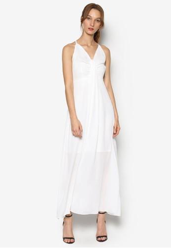 V 領褶飾交esprit hk叉肩帶連身長裙, 服飾, 洋裝