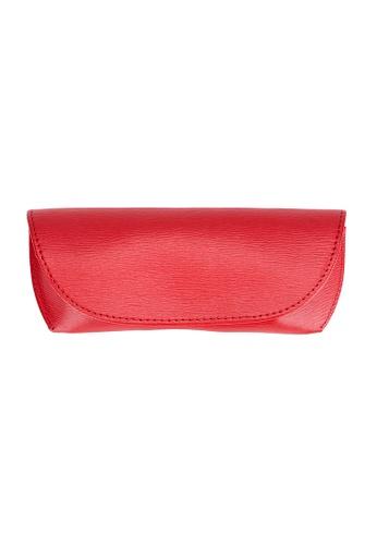 ENZODESIGN red ENZODESIGN  Deluxe Semi Hard Saffiano Leather Glasses Case 54F0AGLE287AC8GS_1