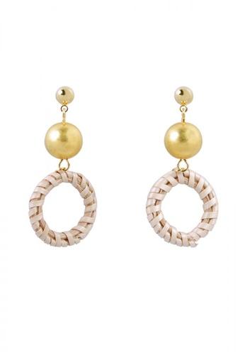 SKEDA brown Gold Rattan Drop Earrings 98A10AC4EADDFBGS_1