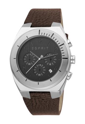 Esprit black ESPRIT [Strike Chrono] 44mm Brown Leather Strap Men Watch [ES1G157L0015] F4D42AC7A2AFFCGS_1