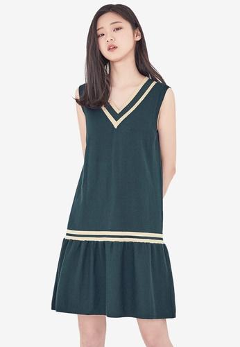 NAIN green Varsity Knit Flare Dress 97AF5AADD5B020GS_1