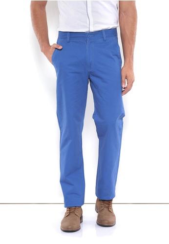POLO HAUS blue Polo Haus - Men Cotton Long Pant (Blue) PO783AA37FMGMY_1