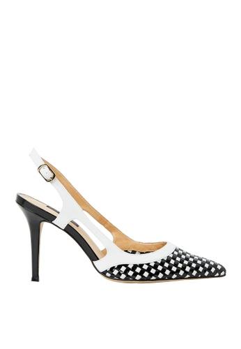 Nina Armando black and white Bridget Patent Leather Slingback High Heel NI342SH0FV8USG_1