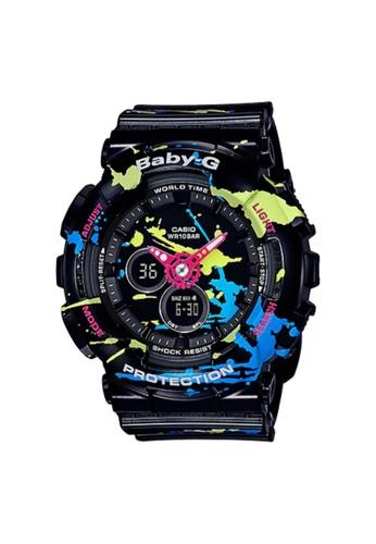 Baby-G black Casio Baby-G Women's Analog Digital Watch BA-120SPL-1A Splatter Pattern Series Black Resin Band Sports Watch 9F659AC57FDB84GS_1