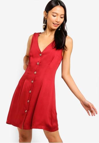 ZALORA 橘色 Button Details A-Line Dress B2B64AAD18BD76GS_1