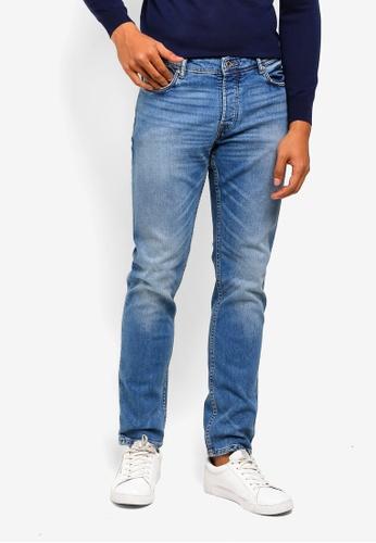 MANGO Man 藍色 修身復古牛仔褲 8F335AAAE57131GS_1