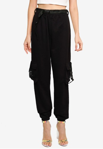 MISSGUIDED black Seat Belt Jersey Cargo Trousers 62E09AAC618E40GS_1