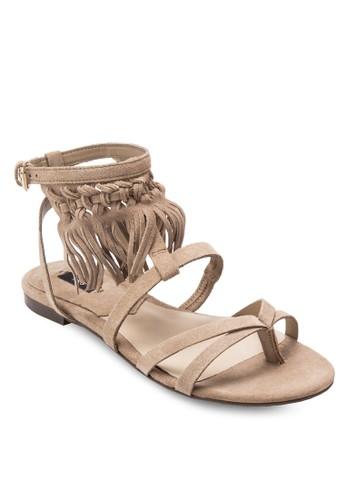 流蘇麂皮繞踝涼鞋, 女鞋mango taiwan, 鞋