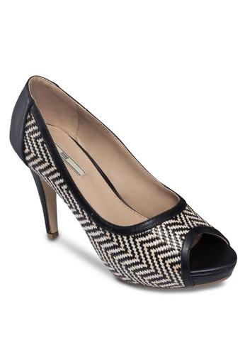 人字紋拼接魚口高跟zalora 衣服評價鞋, 女鞋, 魚口鞋