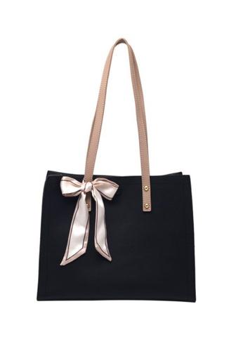 Lara black Women's Silk Scarf Bowknot Decorated Leather Zipper Tote Bag - Black 0A92CAC0443F49GS_1