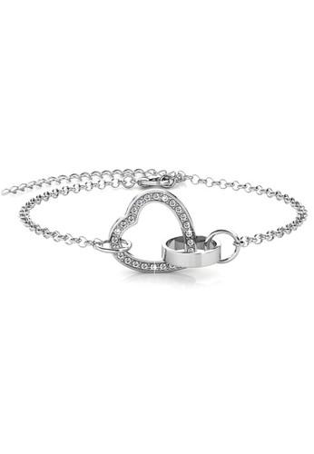 Her Jewellery silver Locked Heart Bracelet WG - Gelang Crystal Swarovski by Her Jewellery 07E97AC8B1665AGS_1