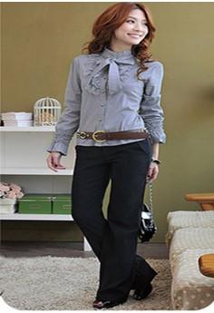 Women's Sexy Gray Solid Shirt