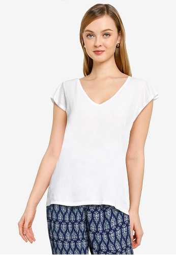 Springfield white Flounced Sleeves T-Shirt 1CEB4AA86517FEGS_1
