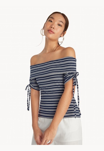 Pomelo blue Striped Off Shoulder Top - Navy 8112EAAB3666AEGS_1
