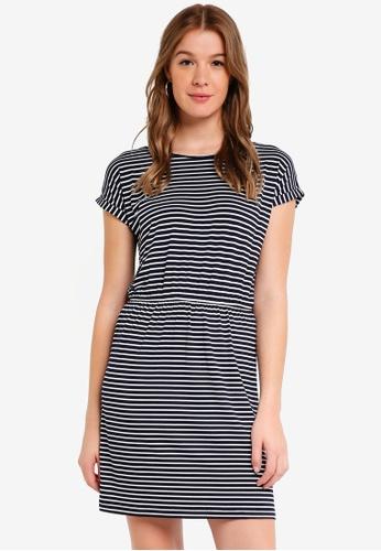 ZALORA BASICS white and navy Basic T-Shirt Dress with Gathered Waist 616DCAA5E8154EGS_1