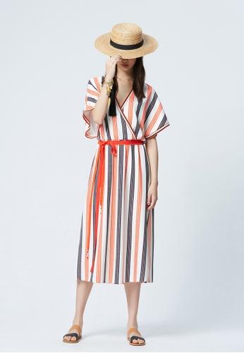 iROO multi Contrast Stripe Long Dress A46B6AA6EC9EC0GS_1