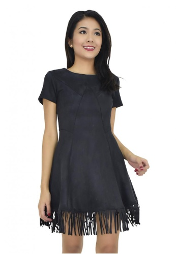 MOONRIVER black Daphnie Skater Sleeves Dress MO886AA20XTBSG_1