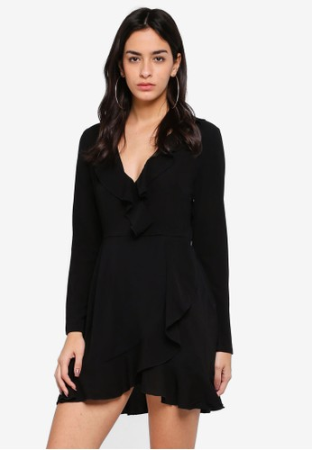 MISSGUIDED black Long Sleeve Ruffle Tea Dress D9DD0AA7F48649GS_1