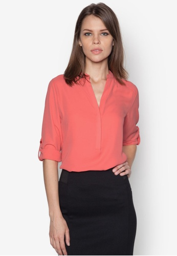 Dorothy Perkins pink Coral Non Collar Rollsleeve DO016AA20MDVSG_1