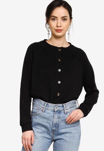Zalia black Knitted Puff Sleeves Cardigan Jacket B285FAA08C426EGS_1
