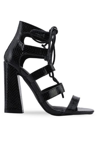 5b8321046e MISSGUIDED black Flared Croc Block Heel Gille Sandals CE7F6SHC5DD4B6GS_1