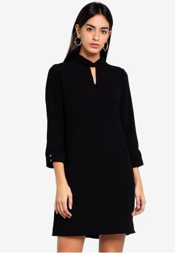 2a87dbeca91bc9 Shop Wallis Petite Black Twist Neck Shift Dress Online on ZALORA ...
