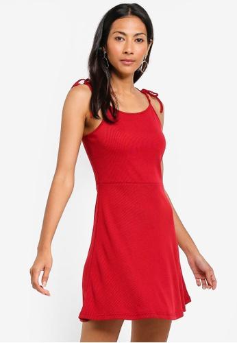 ZALORA BASICS red Basic Rib Cami Dress E96D5AAB61E204GS_1