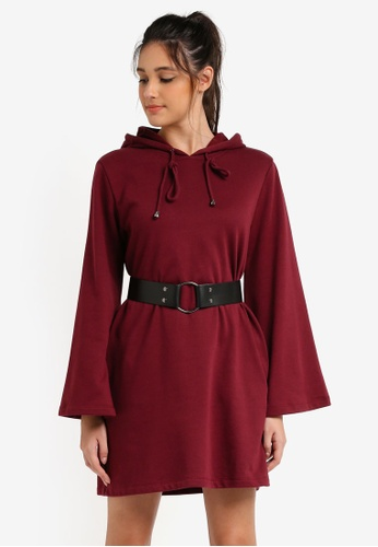 Something Borrowed red Belted Flare Sleeve Hoodie Dress 8A202AA7570E9FGS_1