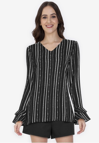 ZALORA WORK multi Fluted Sleeves Wrap Top A64B8AA570777DGS_1