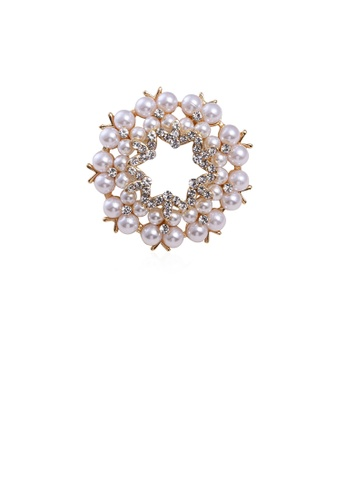 Glamorousky white Fashion and Elegant Plated Gold Hexagonal Star Imitation Pearl Brooch with Cubic Zirconia 821ACACAC9F741GS_1