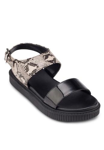 蛇紋踝帶平底涼鞋, 女鞋,esprit outlet 家樂福 鞋