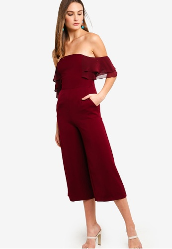 f865d01187ca Lavish Alice red Double Tiered Off The Shoulder Culotte Jumpsuit  AA641AA1BA0BF3GS_1