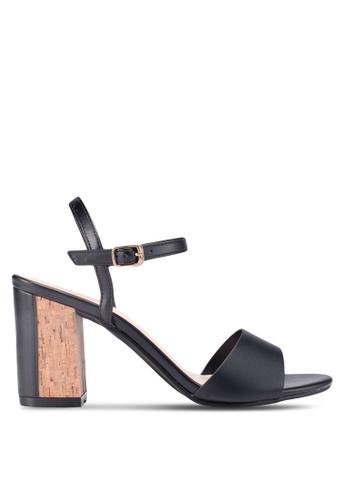 Bata 黑色 一字帶繞踝粗跟鞋 7FD8ASH3F8381EGS_1