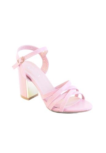 5c03dc965aaf Buy Alfio Raldo Classy Pink Block Heel with Gold Metal Detail Online ...