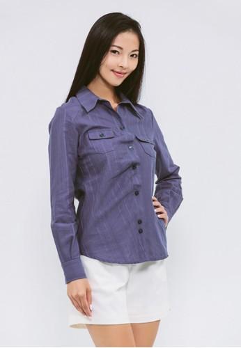 有機棉暮色藍紐扣esprit home 台灣錯位襯衫, 服飾, 襯衫