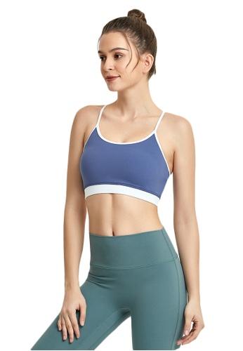 B-Code blue ZWG1112c-Lady Quick Drying Running Fitness Yoga Sports Bra-Blue 45172AA5BAD562GS_1
