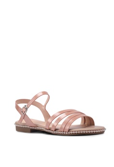 5709eb55a83641 prettyFIT Asymmetrical And Metallic Beaded Patent Flat Sandals RM 222.00.  Available in several sizes