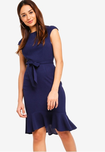 ZALORA navy Mermaid Hem Sheath Knit Dress 69427AAA1CA121GS_1