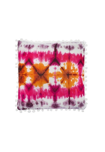 At Home pink Tie Dye Design Throw Pillow With Pom poms EACE7HL32398BBGS_1