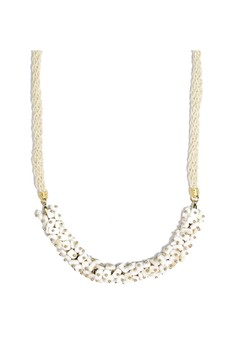J Crew White Glass Beads Cluster Statement Necklace