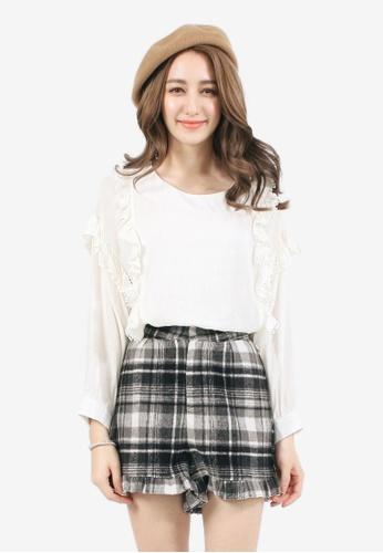 YOCO white Stripe Blouse with Ruffles YO696AA0SZV8MY_1