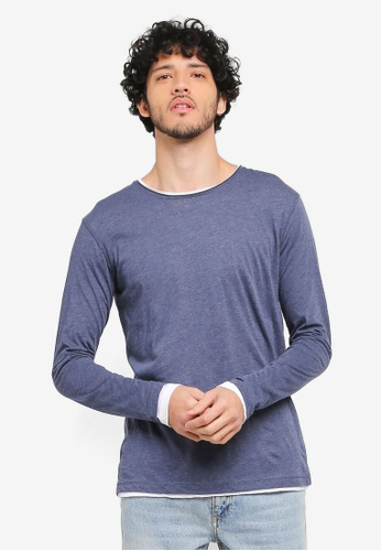 MANGO Man blue Flecked Cotton-Blend T-Shirt MA449AA0T1ELMY_1
