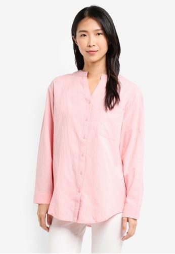 ZALORA pink Oversized Shirt 39B2CAAF0BF54BGS_1