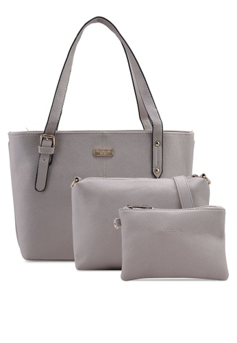 Unisa grey Saffiano Tote Bag Set Of 3 7C69FAC7D190A4GS_1