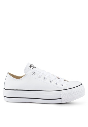 f18aa5a354522 Converse white Chuck Taylor All Star Leather Lift Clean Ox Sneakers  E7F43SH9AF7352GS 1