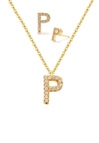 """Atrireal gold ÁTRIREAL - Initial """"P"""" Necklace + Earrings Jewellery Set in Gold BCD0FAC2AD8273GS_1"""
