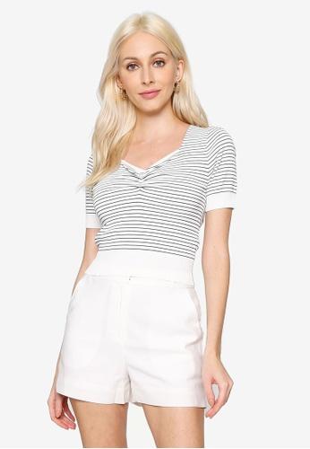 Hopeshow white Stripe Knitted Blouse 63552AAAAE0D39GS_1